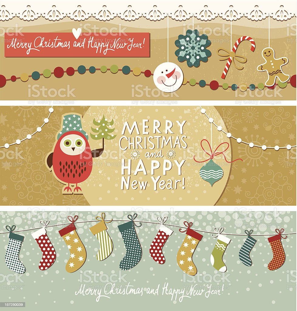 Set of Christmas and New Year's horizontal banners royalty-free stock vector art
