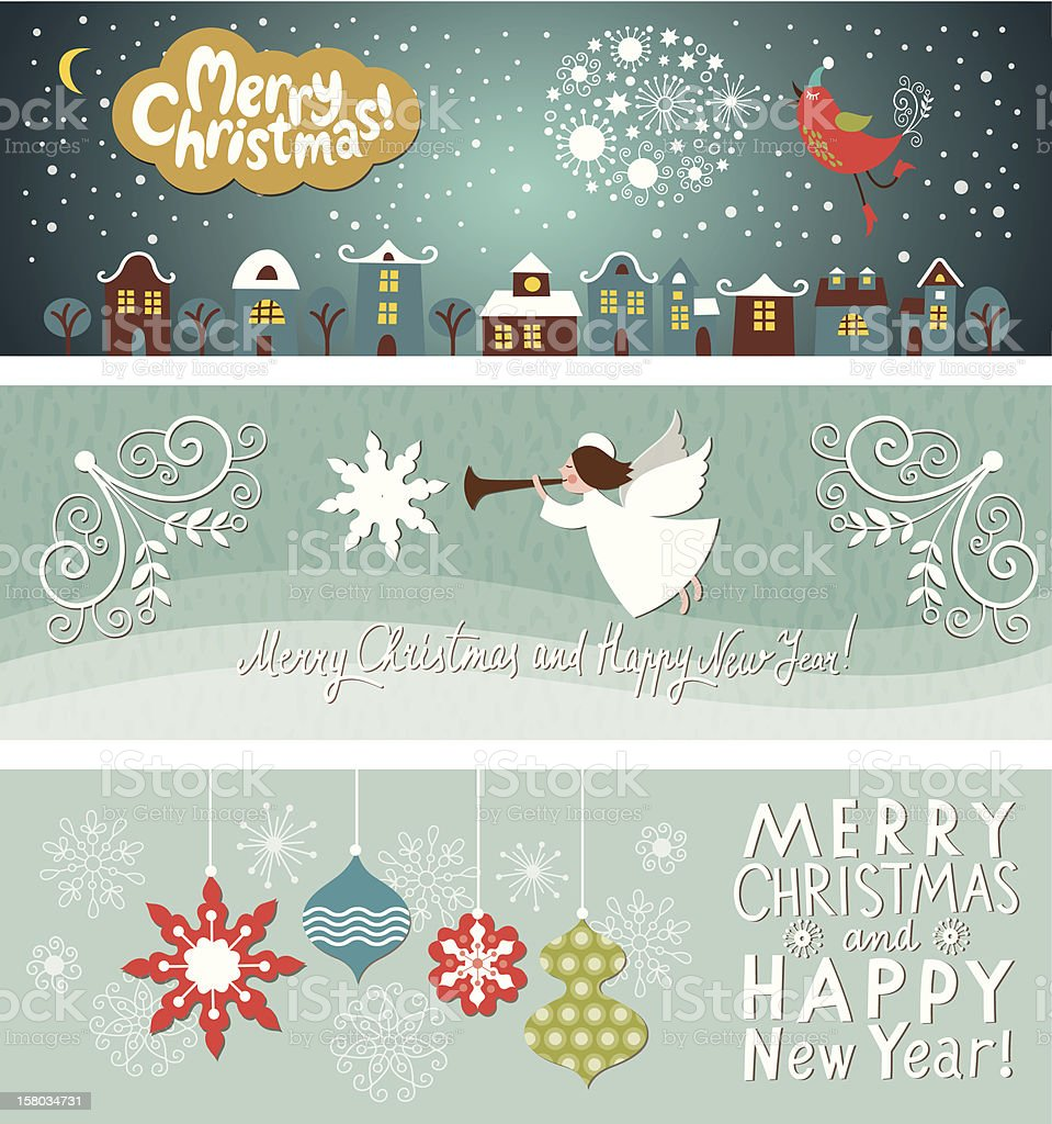 Set of Christmas and New Year's horizontal banners stock photo