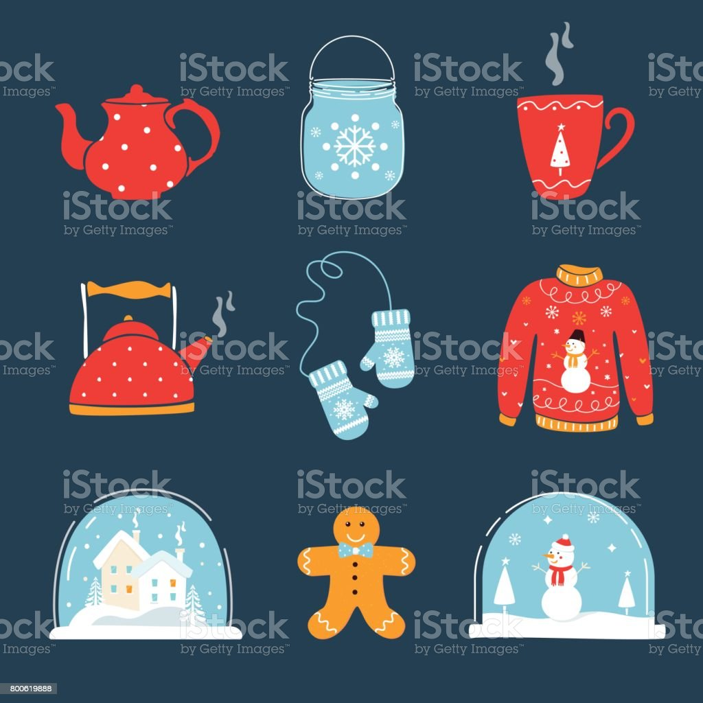 Set of Christmas and Winter Holidays Design Elements. Snow Globe, Ugly Sweater, Mug, Mittens and Teapot vector art illustration