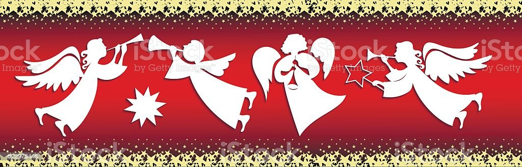 Set of Christmas angels vector art illustration