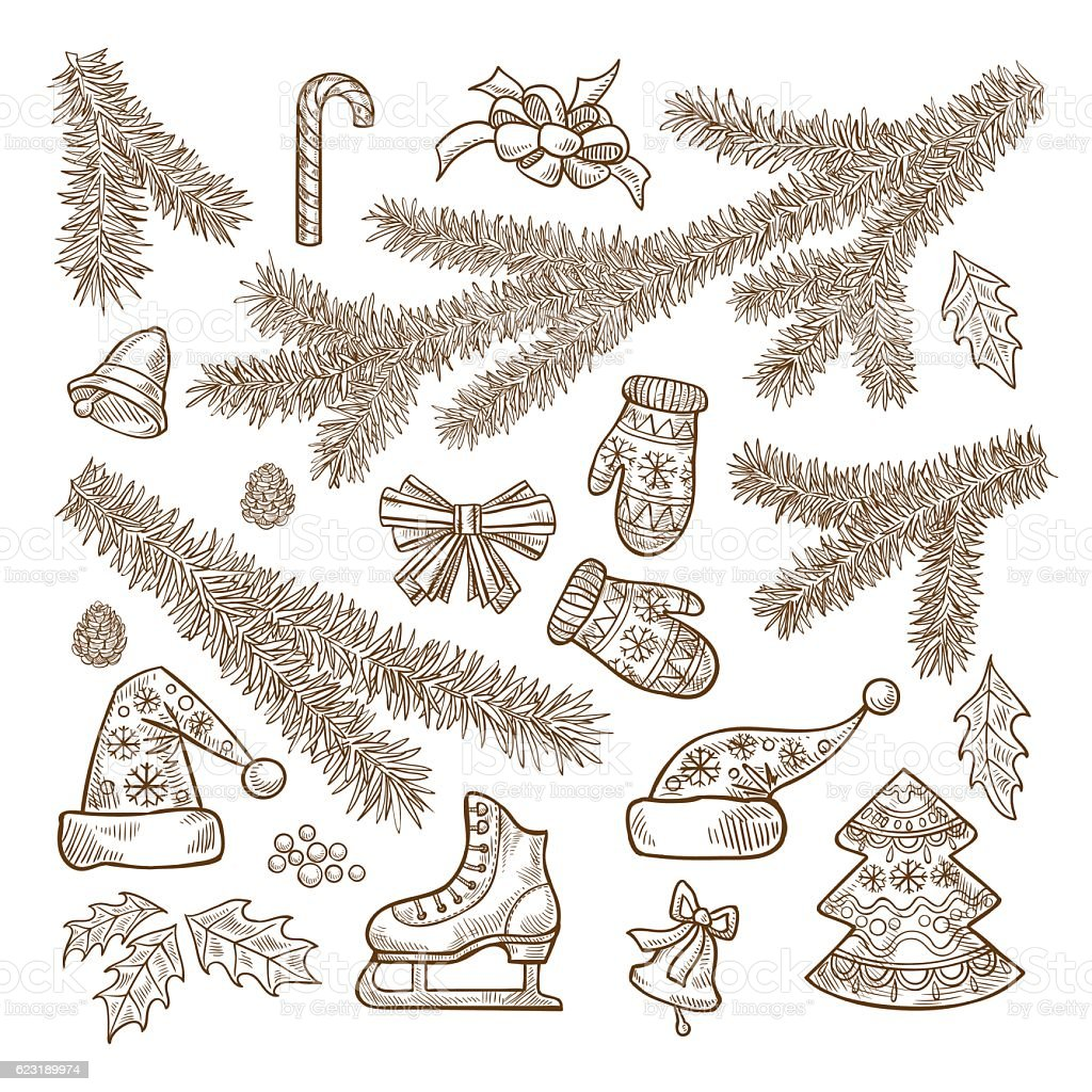 Set of Christmas attributes in retro style vector art illustration