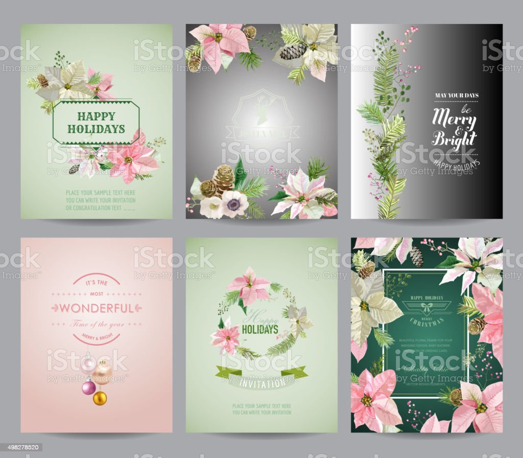 Set of Christmas Brochures and Cards - Colorful Layouts vector art illustration