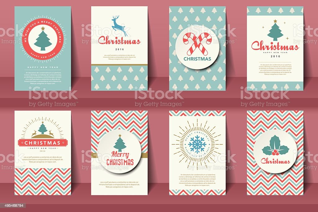 Set of  Christmas brochures in vintage style vector art illustration
