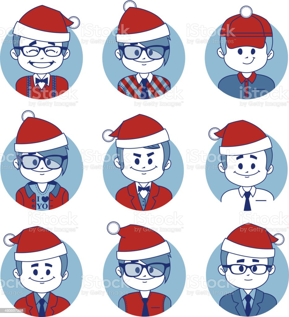 Set of Christmas business characters vector art illustration