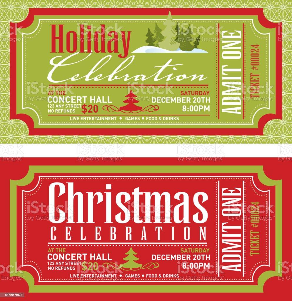 Set of Christmas concert tickets templates vector art illustration