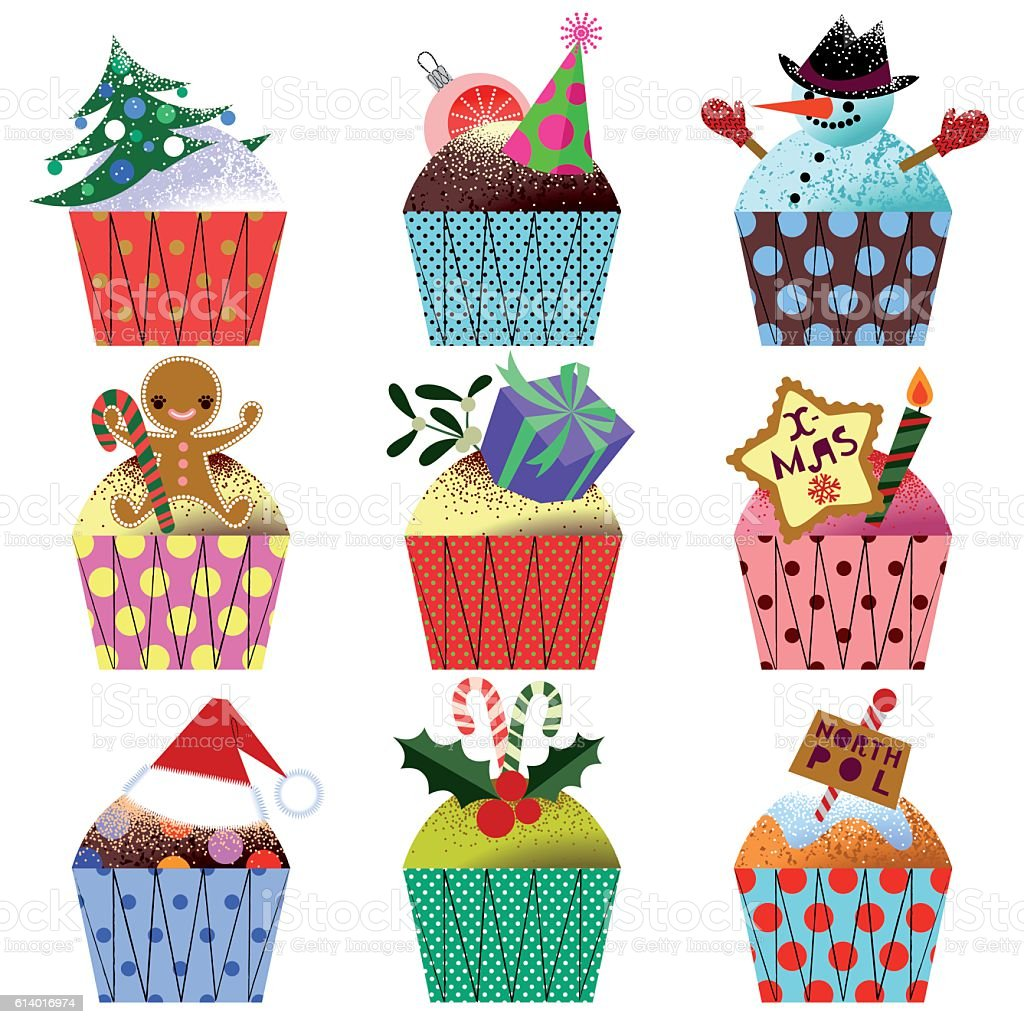 Set of Christmas Cupcakes. vector art illustration