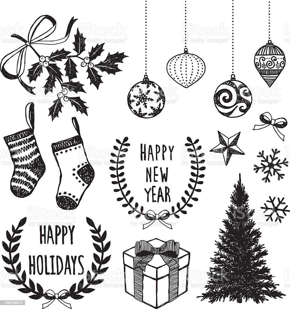 Set Of Christmas Decoration vector art illustration