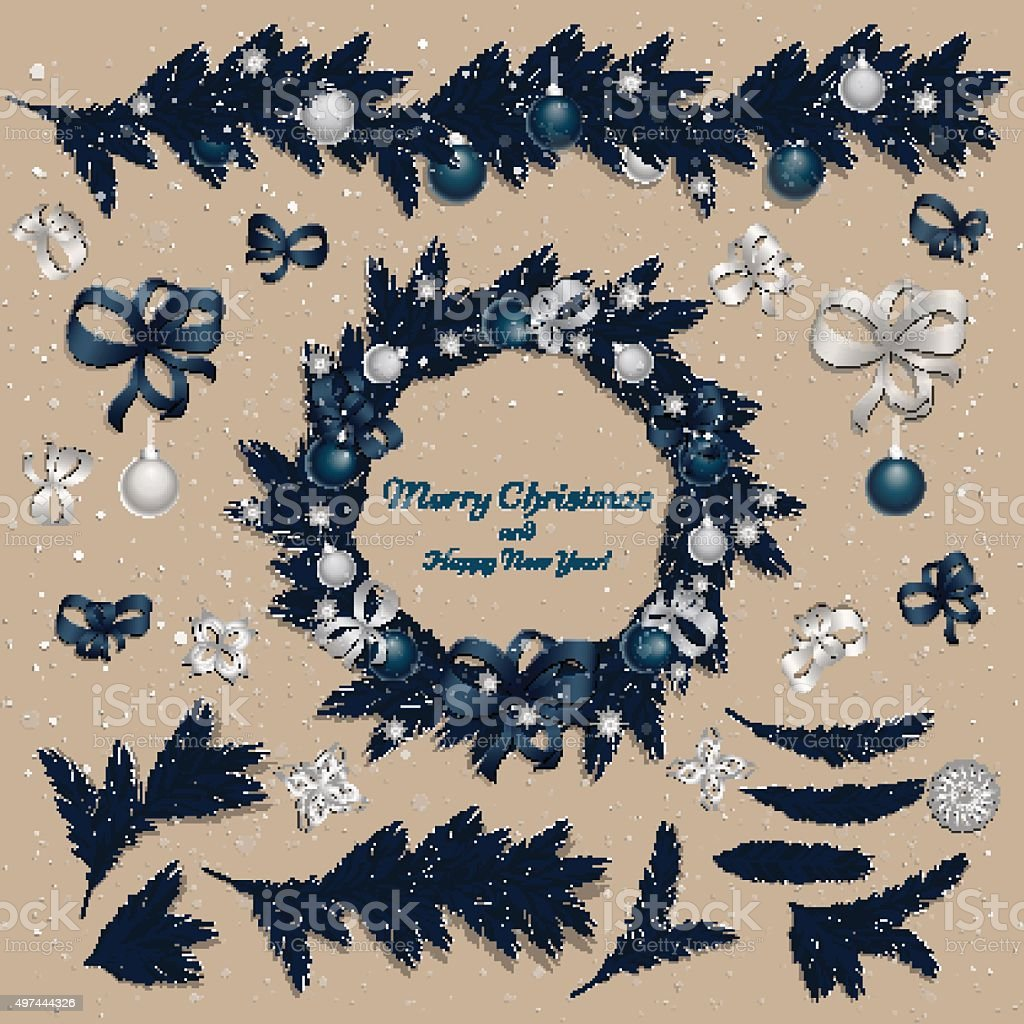 Set of christmas decorations vector art illustration