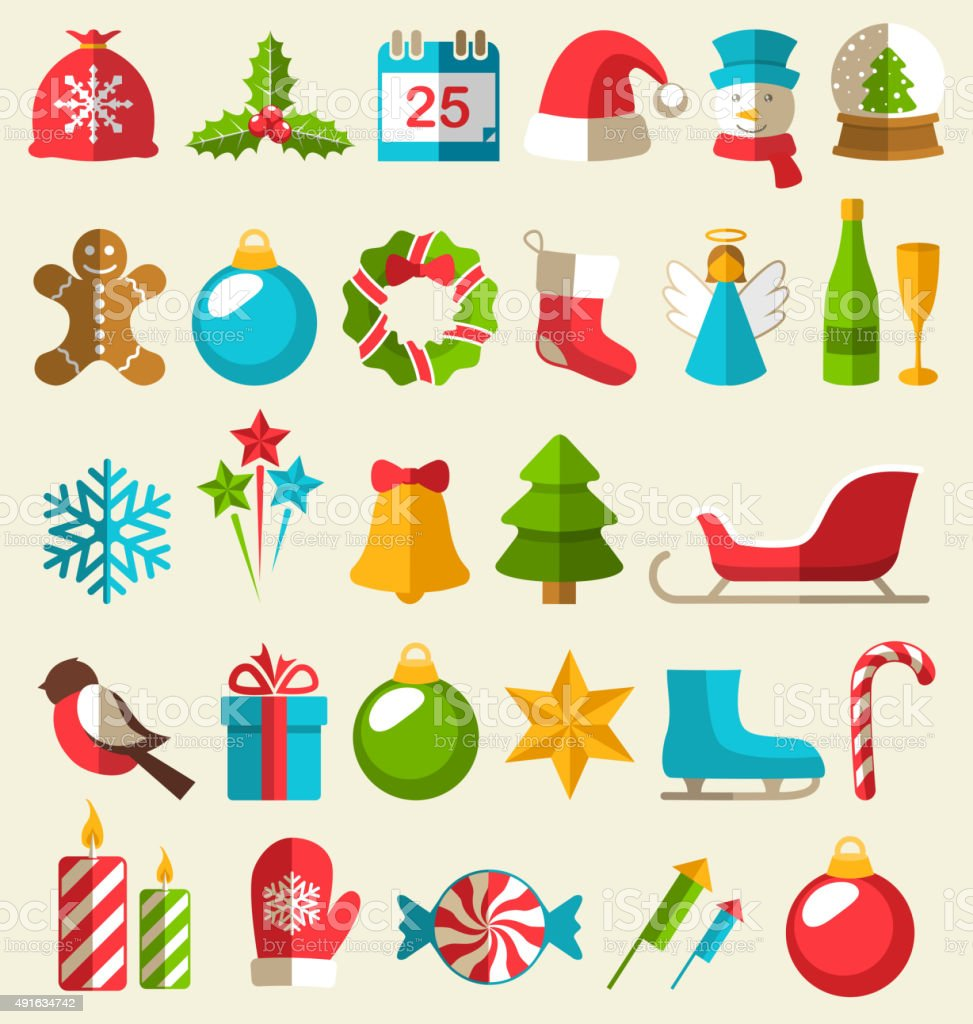 Set of Christmas Flat Icons Isolated on Beige vector art illustration