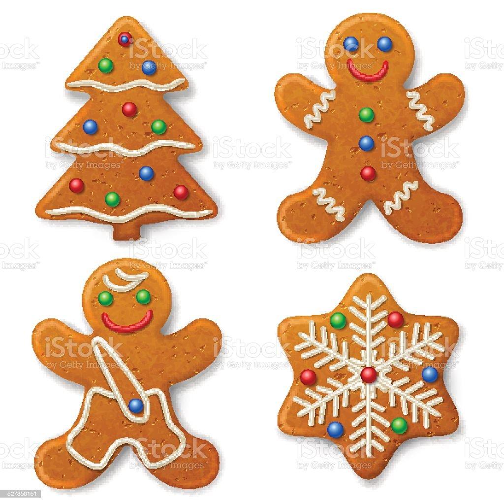 Set of Christmas gingerbread vector art illustration