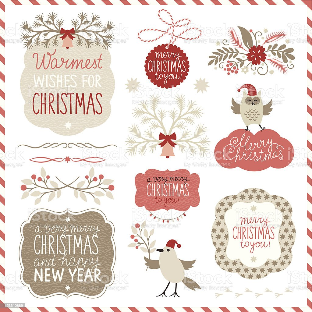 Set of Christmas graphic elements and lettering vector art illustration