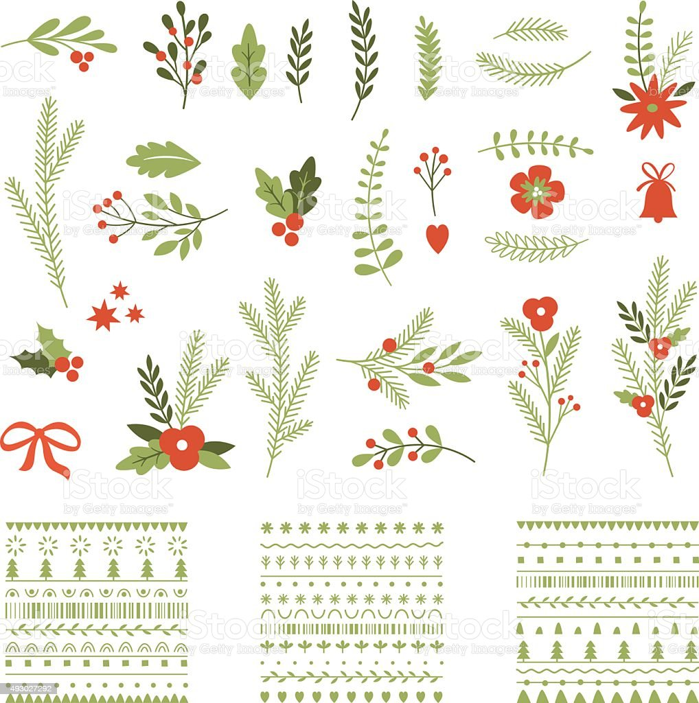 Set of Christmas graphic elements and ornaments vector art illustration