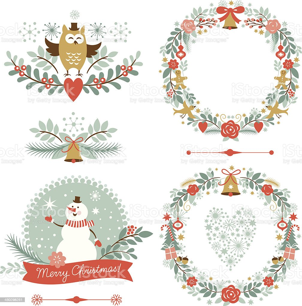 Set of Christmas graphic elements royalty-free stock vector art