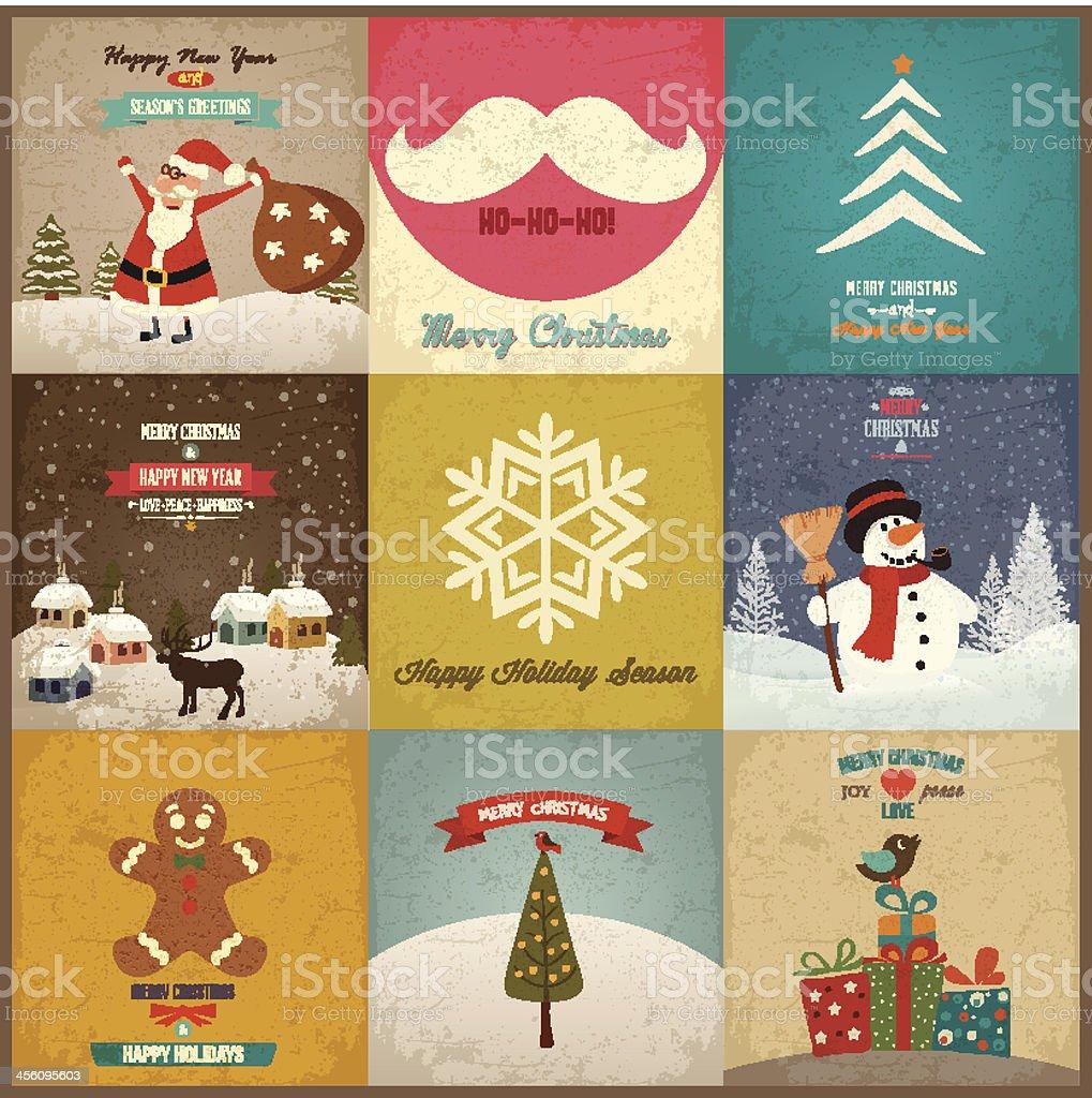 Set of Christmas greeting card. Vector royalty-free stock vector art