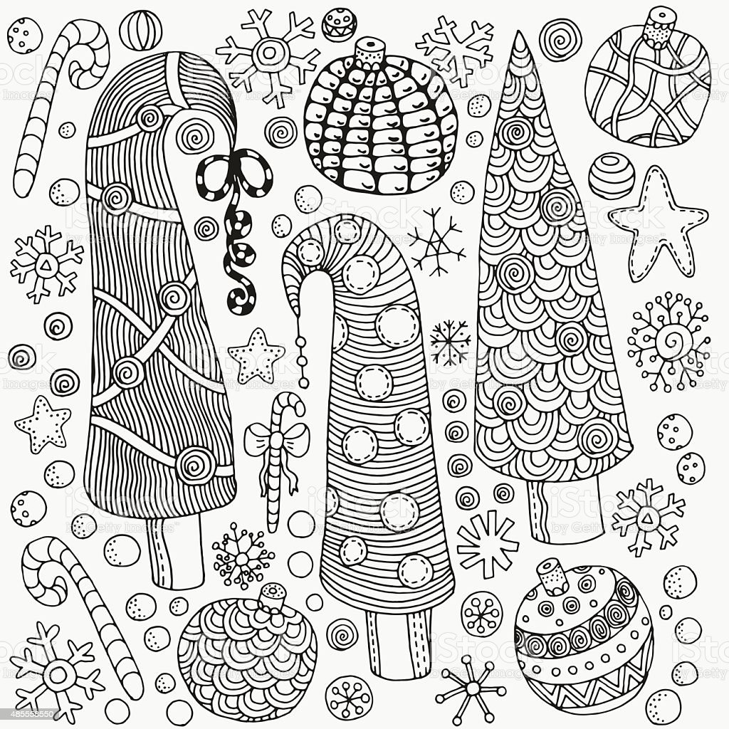 Set of Christmas hand-drawn decorative elements in vector vector art illustration