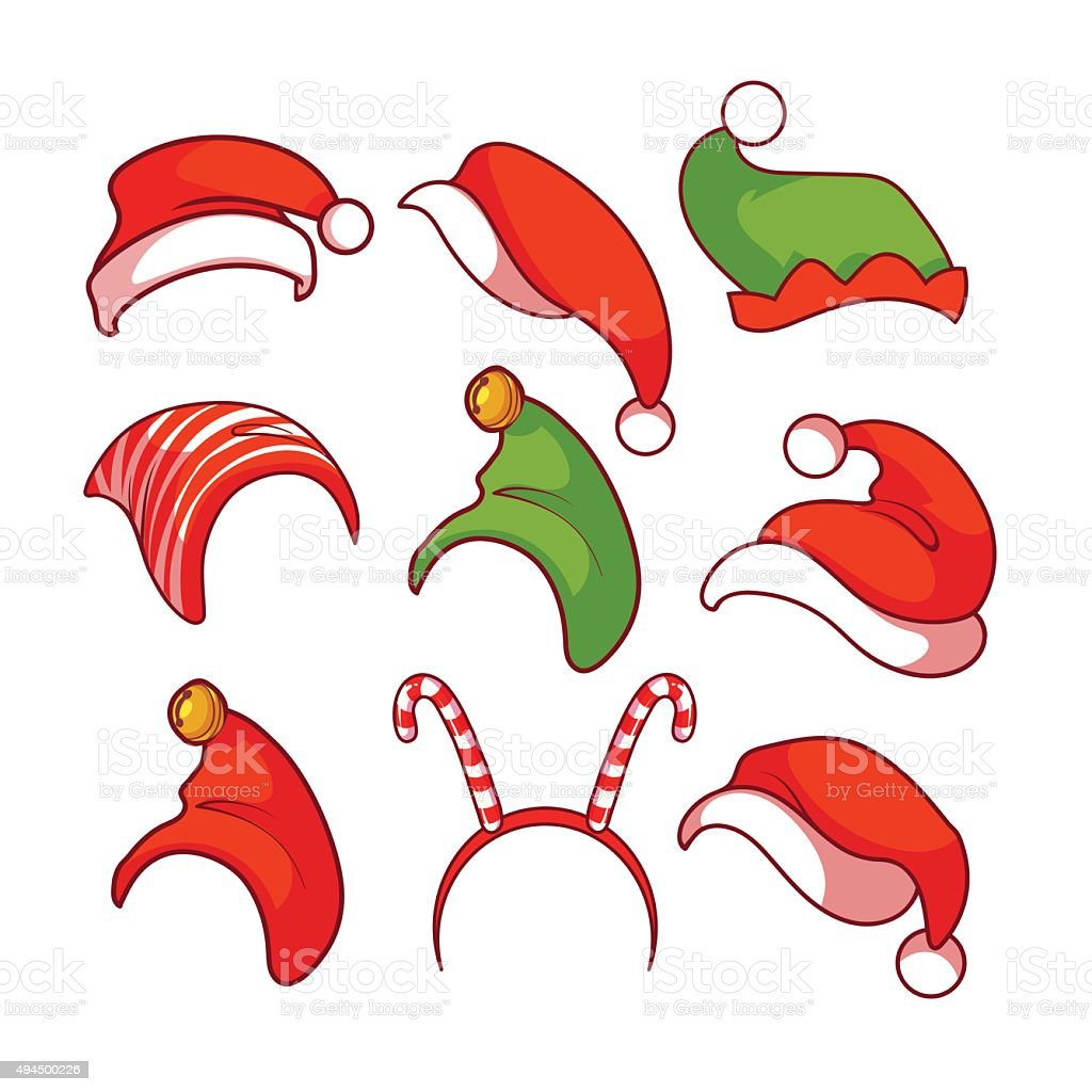 Set of Christmas hats. vector art illustration