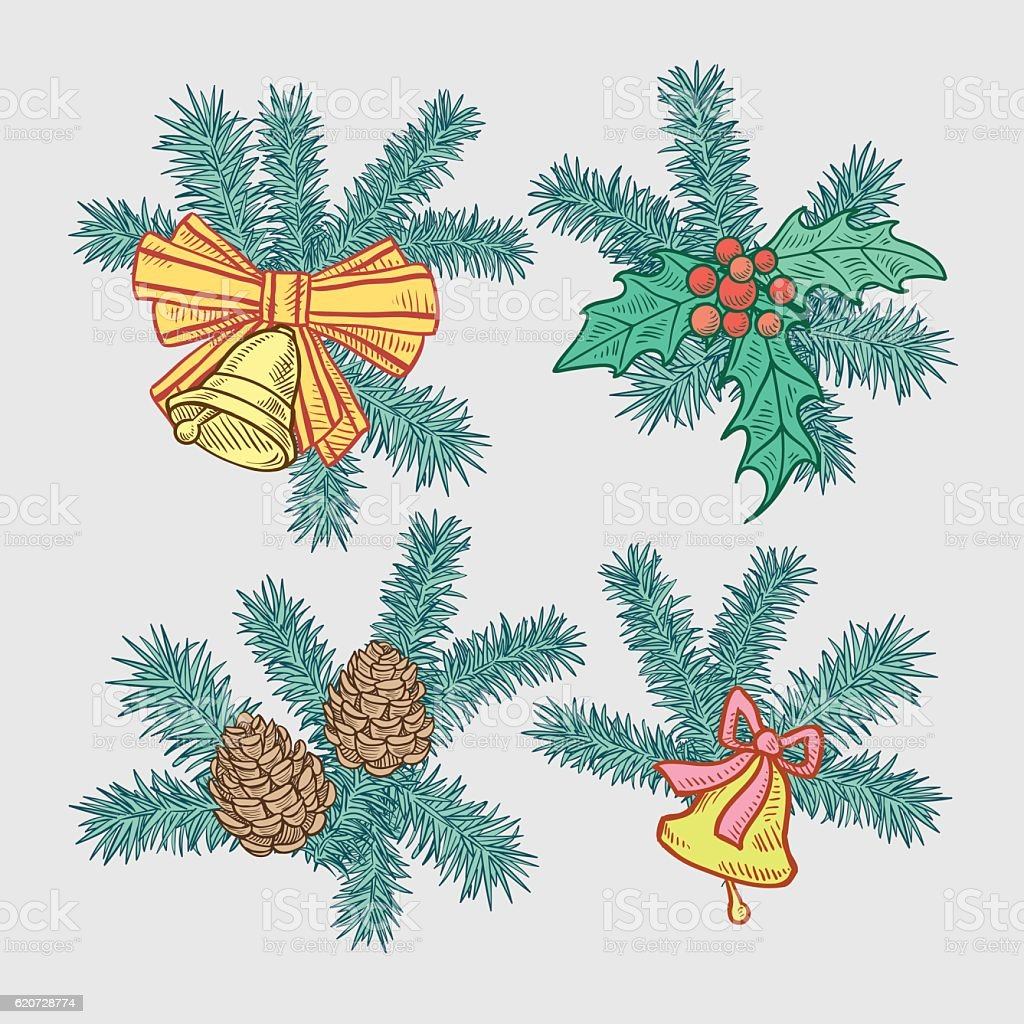 Set of Christmas holiday elements vector art illustration