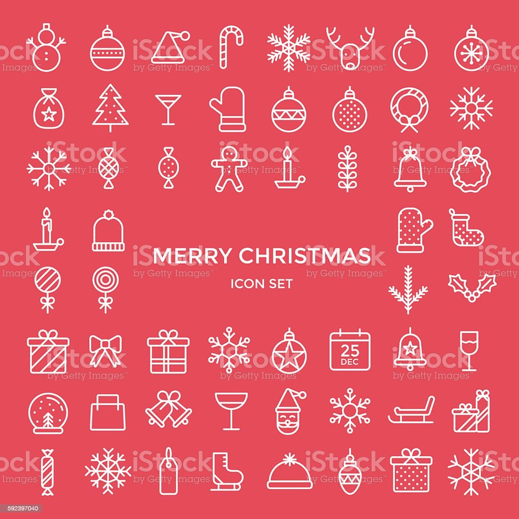 Set of christmas holiday icons - vector illustration vector art illustration