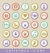 Set of Christmas Icons on Circular Colored Buttons.
