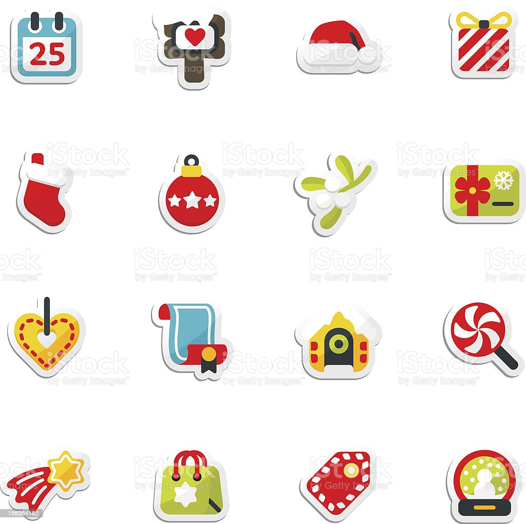 set of christmas icons royalty-free stock vector art