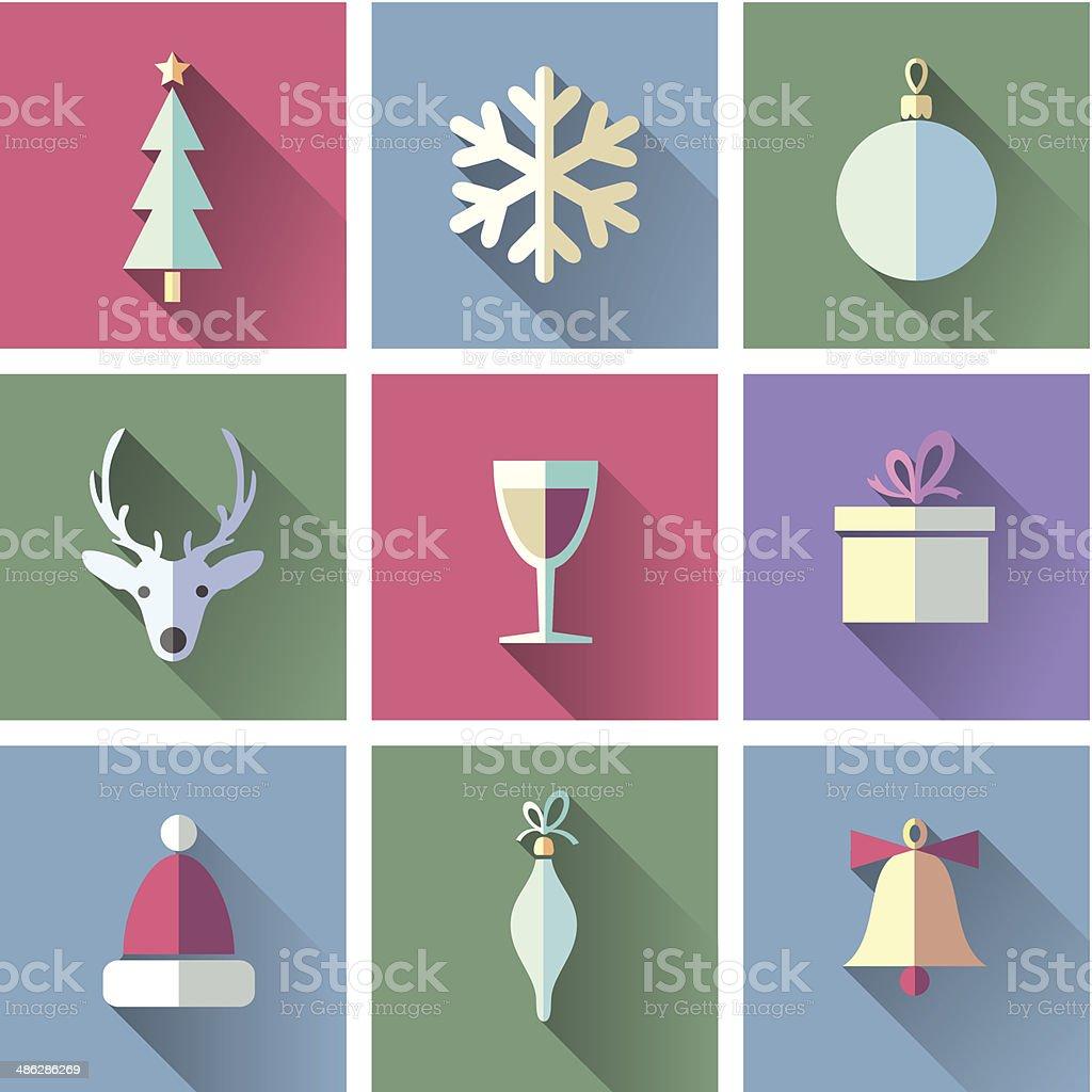 set of Christmas icons vector art illustration
