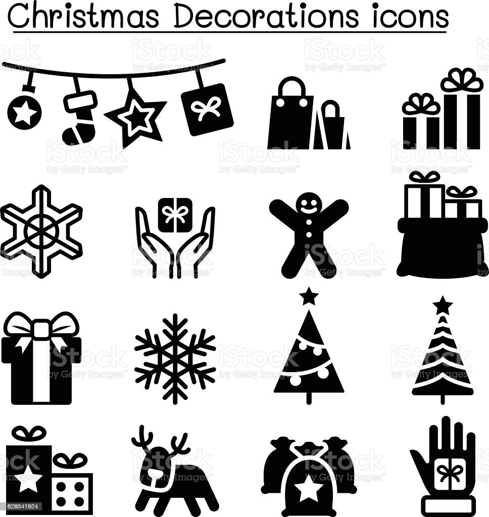 Set of Christmas icons. Vector illustration. vector art illustration