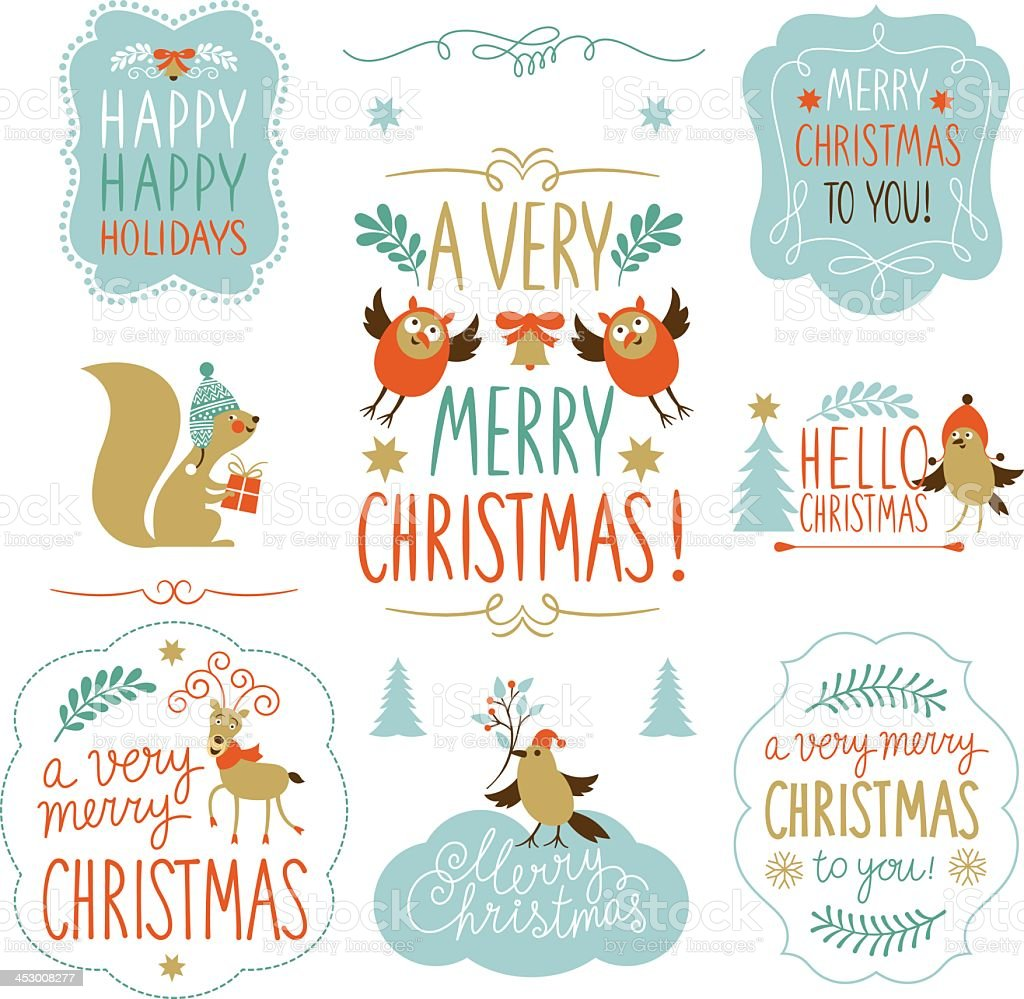 A set of Christmas lettering and elements vector art illustration