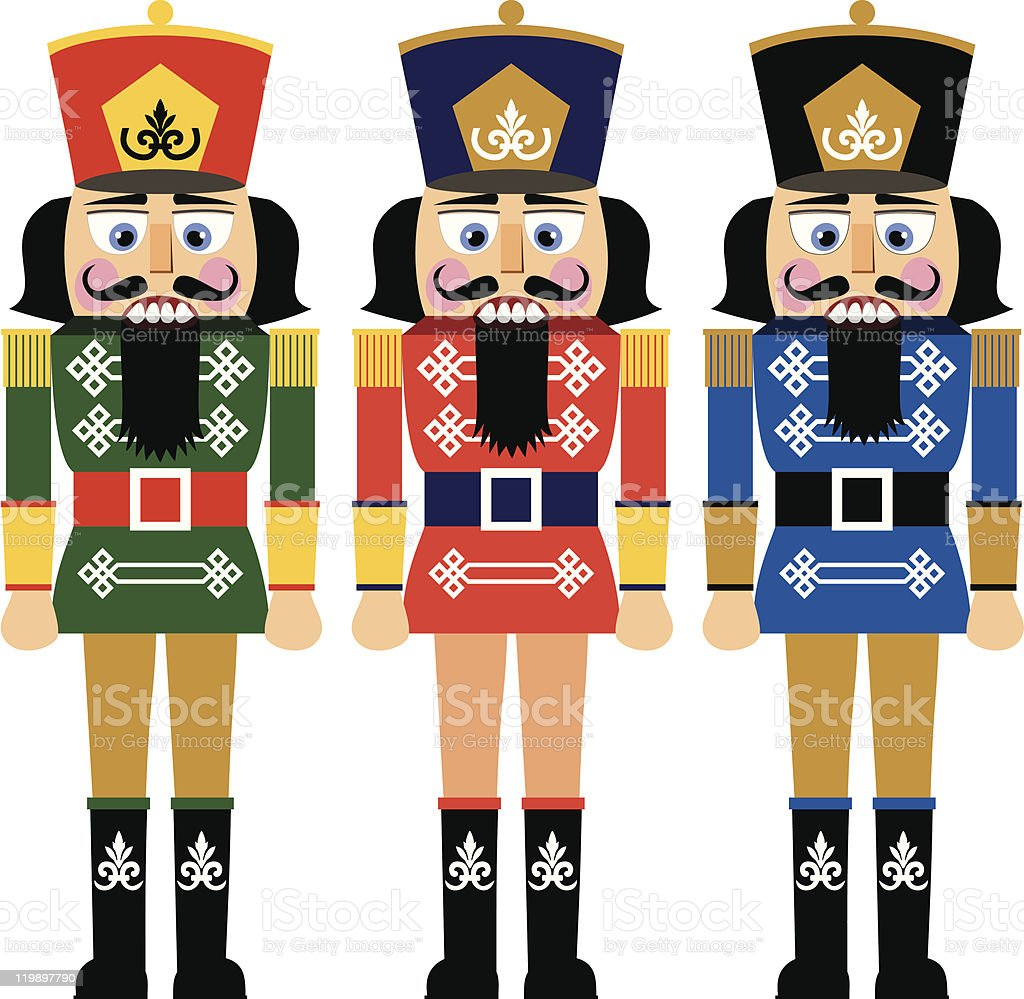Set of christmas nutcracker vector art illustration