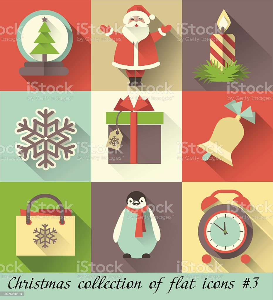 Set of Christmas retro flat icons and elements vector art illustration