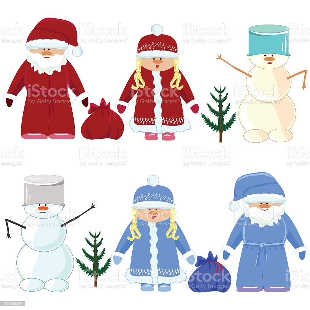 set of Christmas Santa Claus, snow maiden, snowman with eyes royalty-free stock vector art