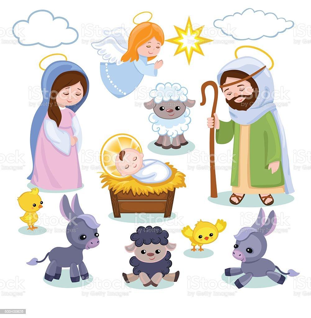 Set of Christmas scene elements. Cartoon nativity holy family. vector art illustration