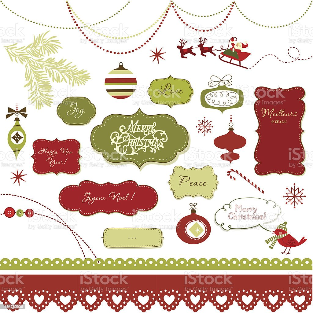 Set of Christmas scrapbook elements, vintage frames, ribbons, ornaments royalty-free stock vector art