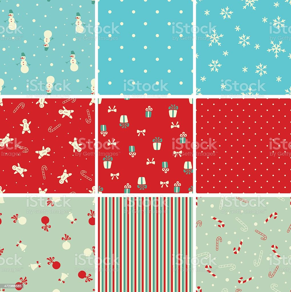 Set of Christmas seamless patterns royalty-free stock vector art