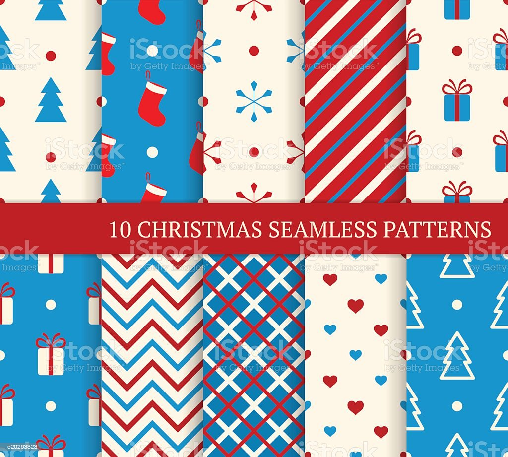 Set of Christmas seamless patterns. vector art illustration