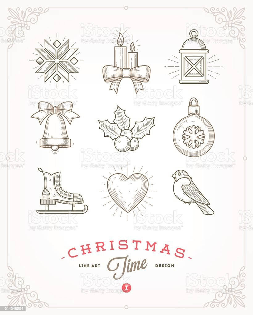 Set of Christmas signs and symbols vector art illustration