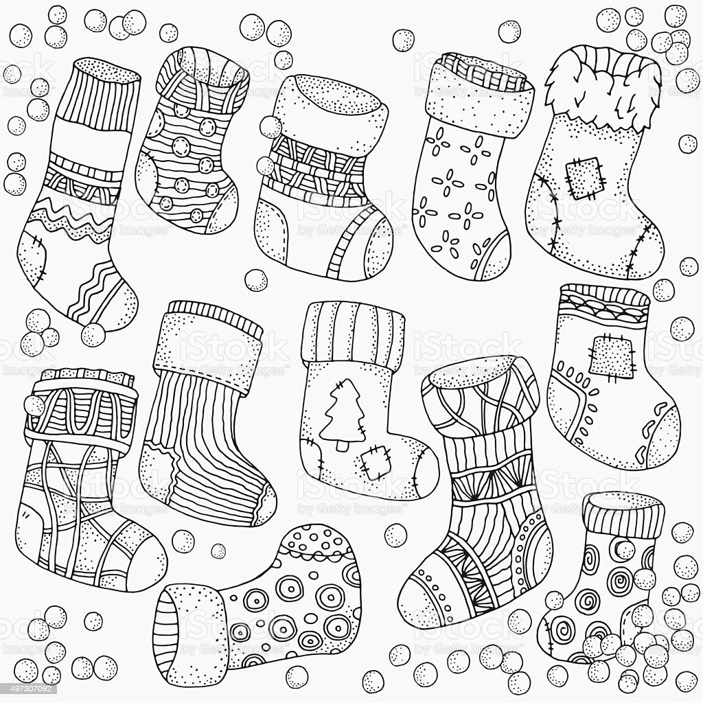 Set of Christmas Socks. vector art illustration