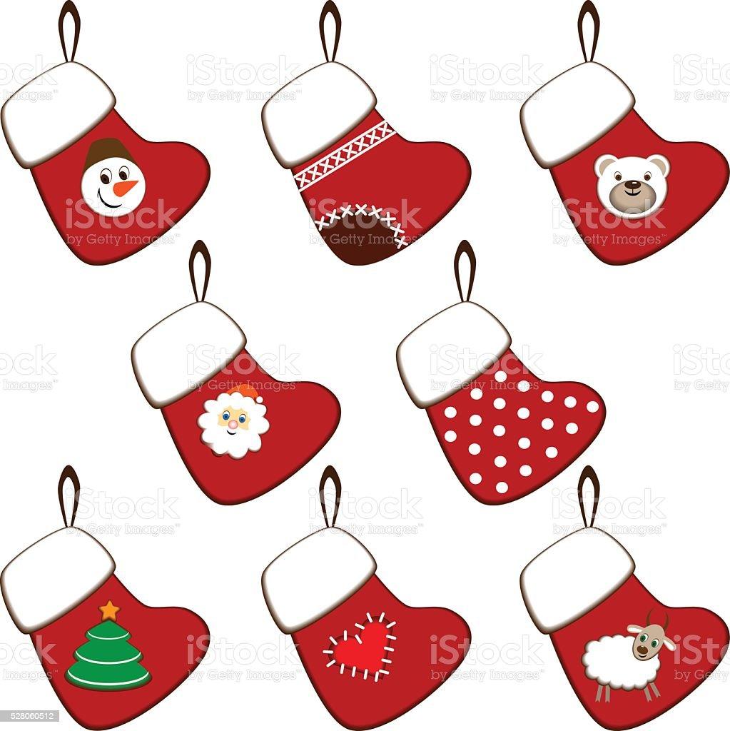 set of Christmas stockings vector art illustration