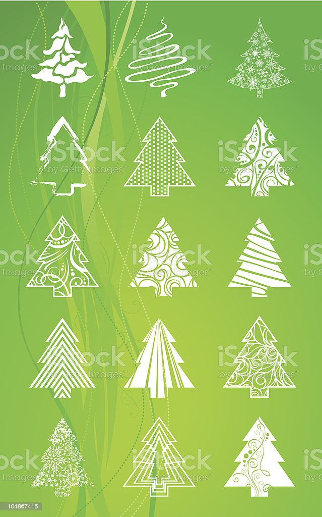 Set of Christmas trees royalty-free stock vector art