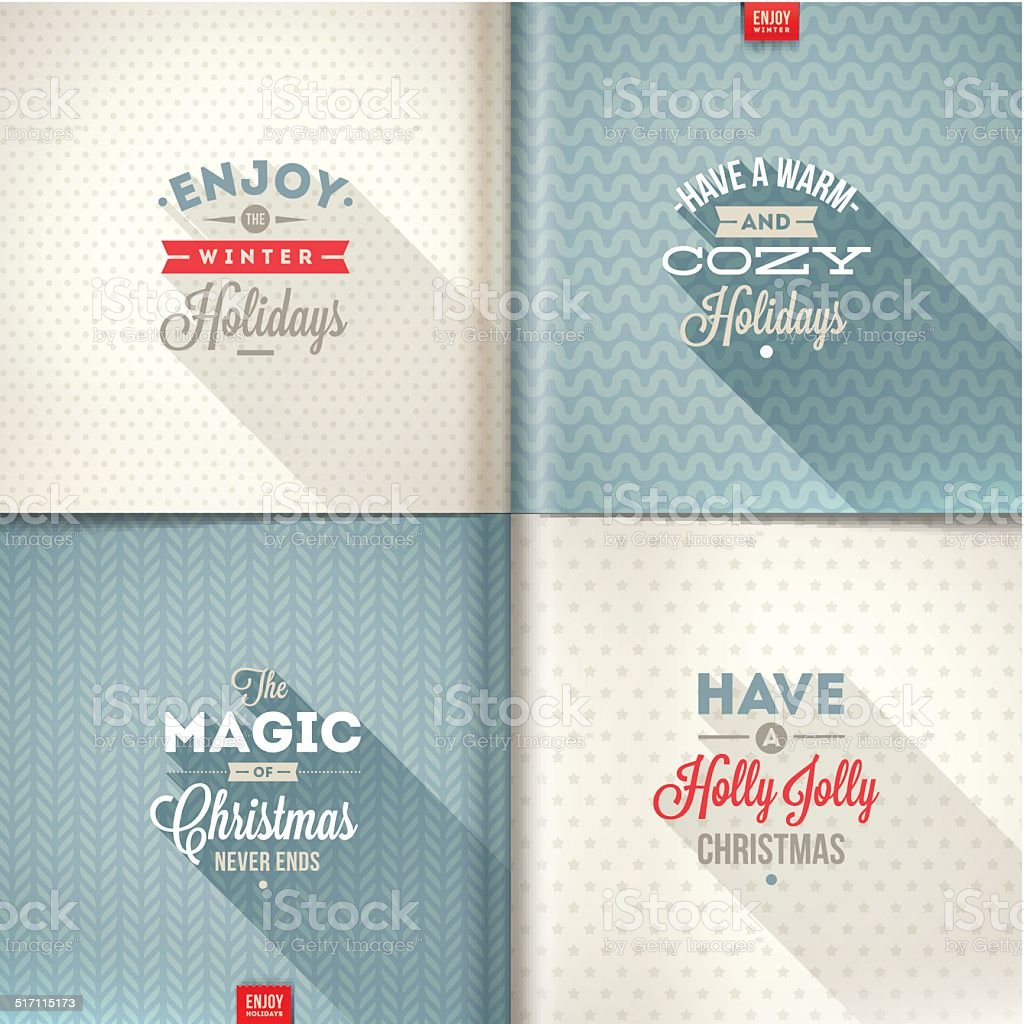 Set of Christmas type design with long shadow vector art illustration