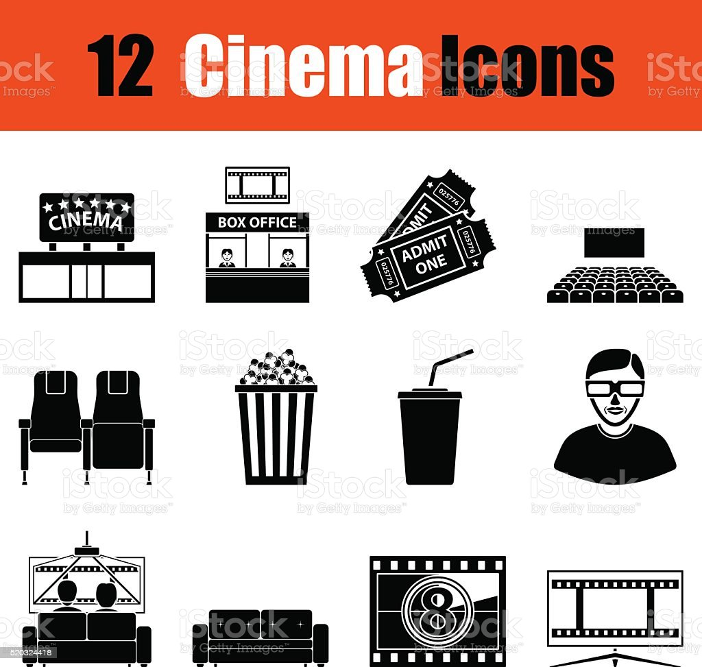Set of cinema icons vector art illustration