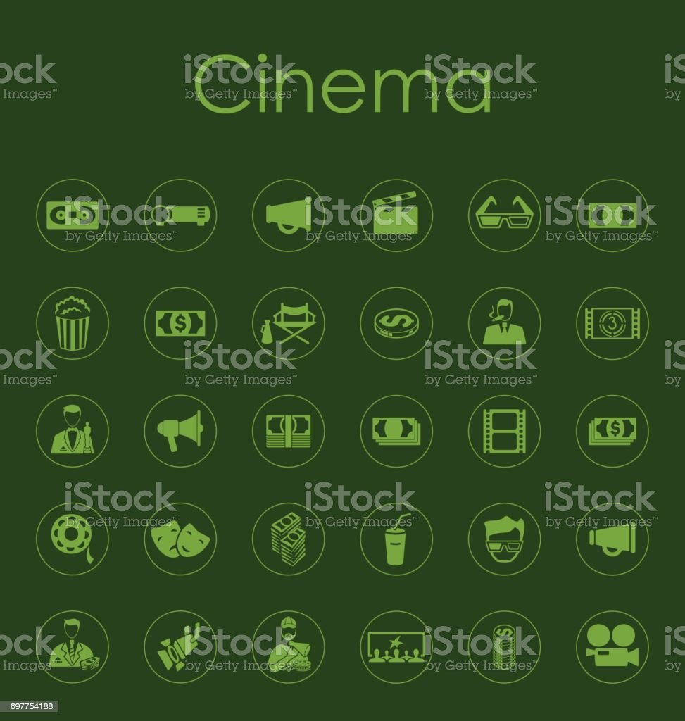 Set of cinema simple icons vector art illustration