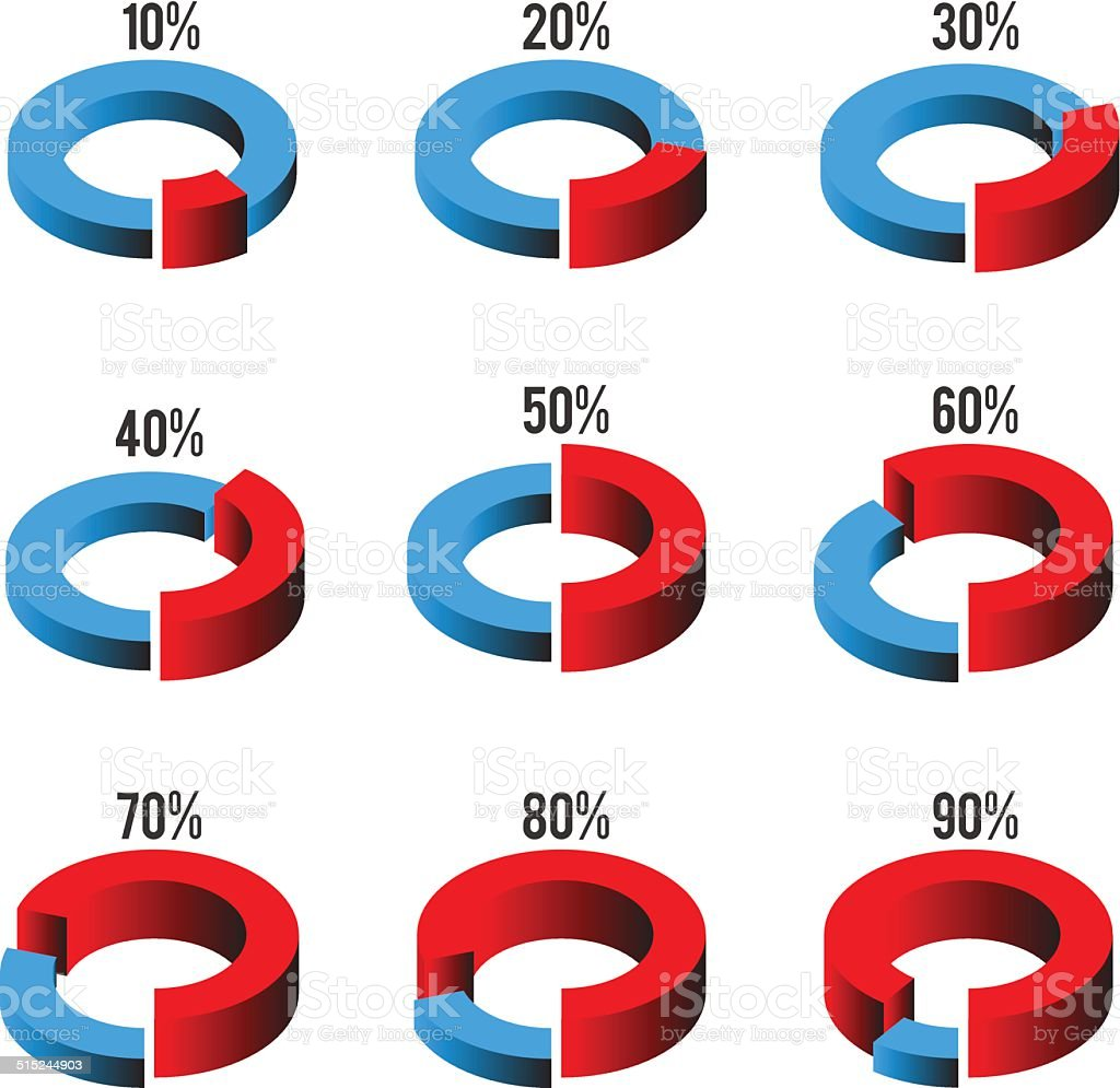 Set of circle diagrams for infographics vector art illustration