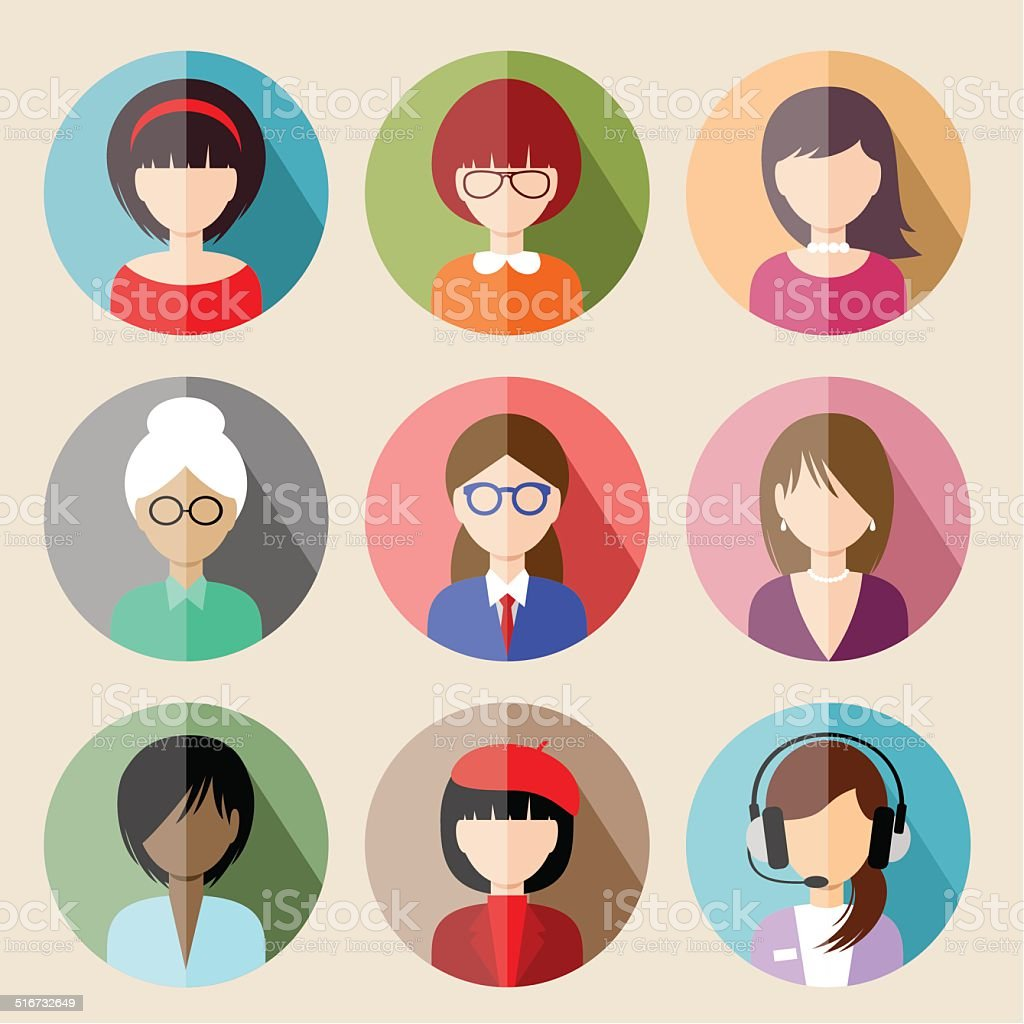 Set of circle flat icons with women. vector art illustration