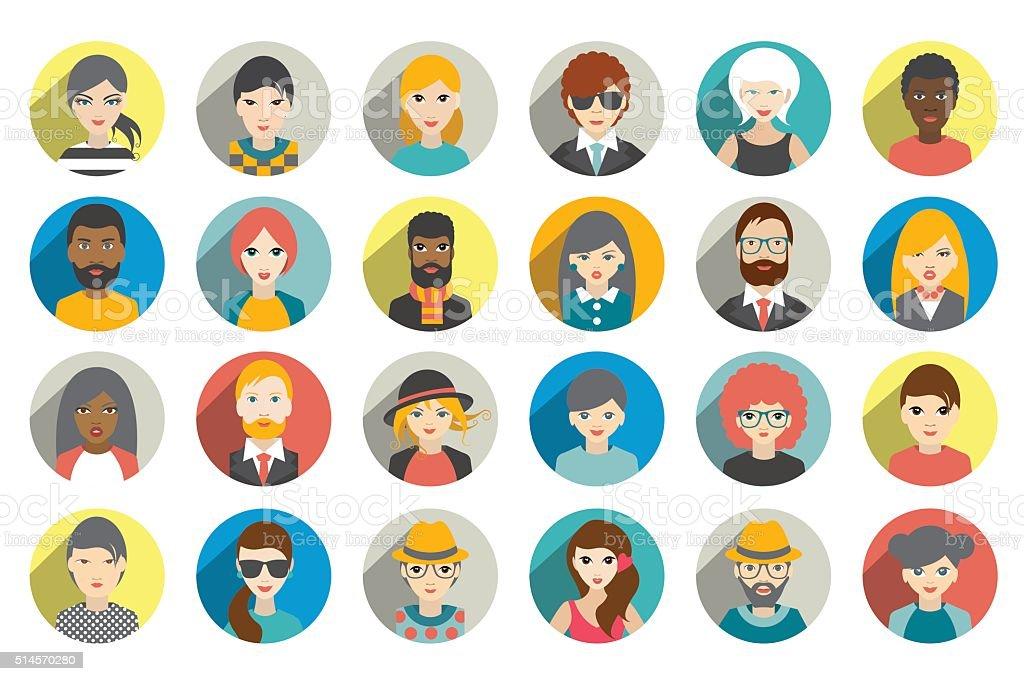 Set of circle persons, avatars, people heads  different nationality vector art illustration