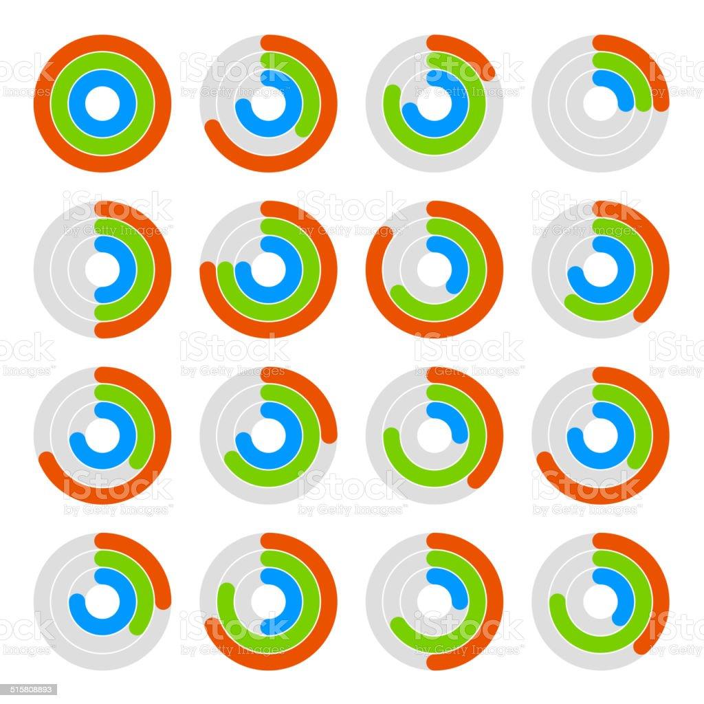 Set of Circular Colored Progress Diagram. Vector royalty-free stock vector art