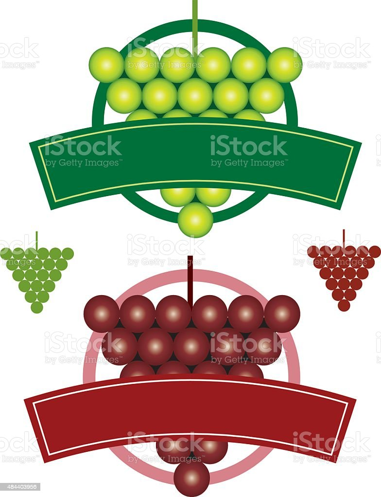 Set of Circular logos with grapes and type panel. vector art illustration