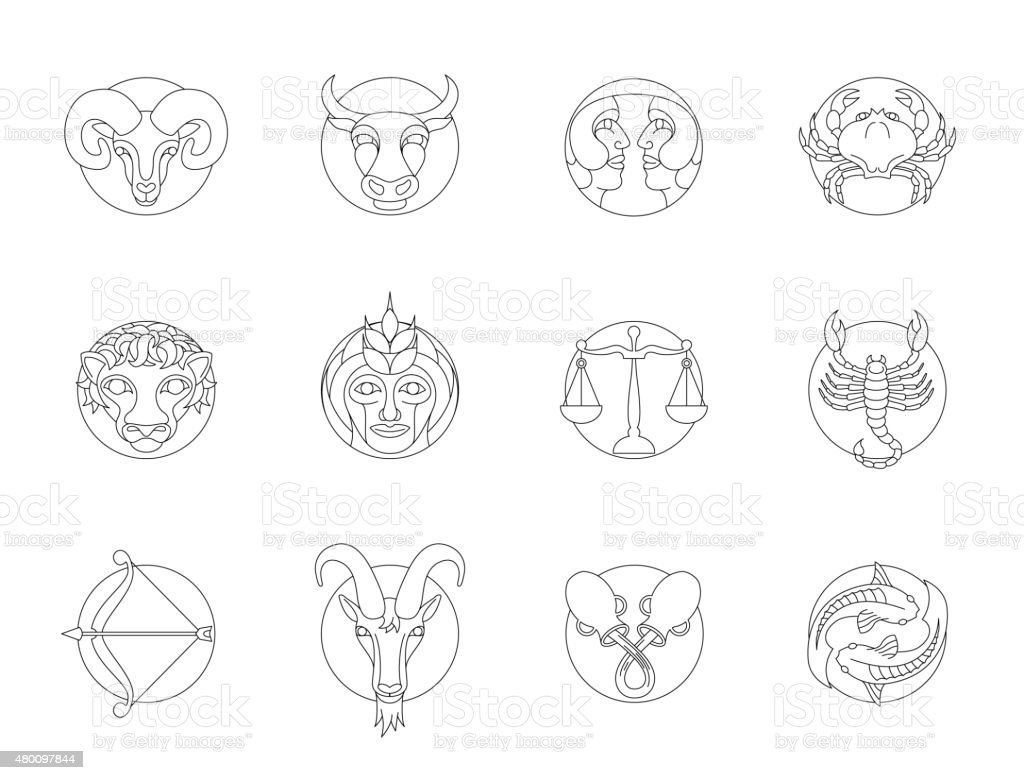 Set of circular zodiac signs with outlines vector art illustration