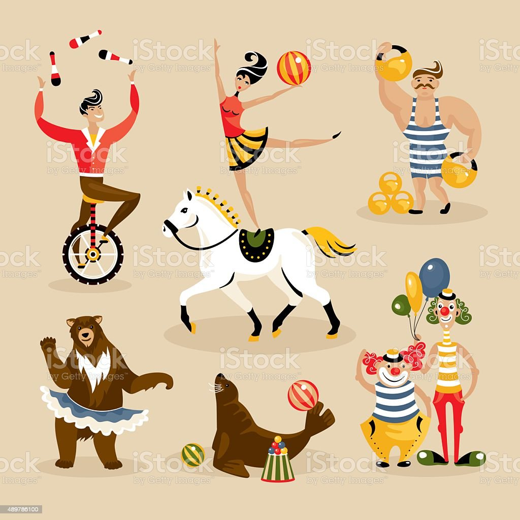 Set of circus characters and animals vector art illustration