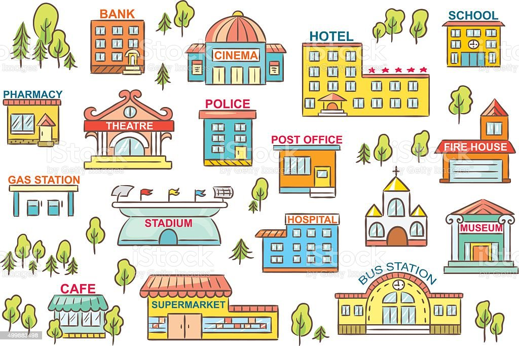 Set of city buildings with signs vector art illustration
