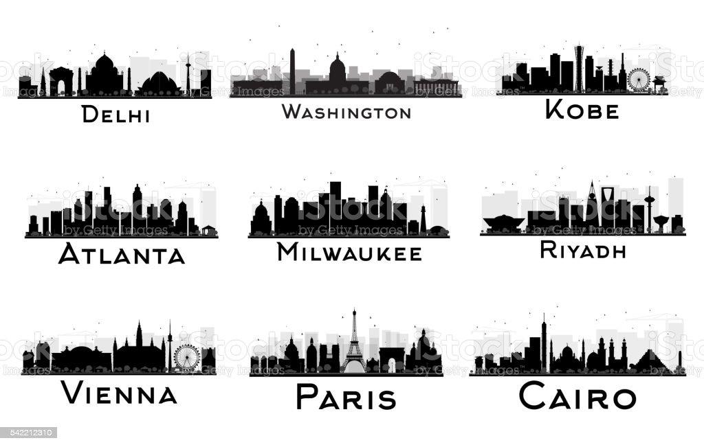 Set of City Skyline Black and White Silhouette. vector art illustration